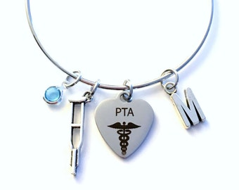 PTA Charm Bracelet Gift for Physical Therapist Assistant Jewelry Crutches Charm Crutch Bangle Silver initial Birthstone Therapy present