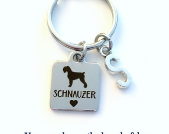 Schnauzer KeyChain Mini Breeder Key Chain Gift for Dog Mom Keyring Doggie Puppy Jewelry charm Silver with letter Initial present Man woman