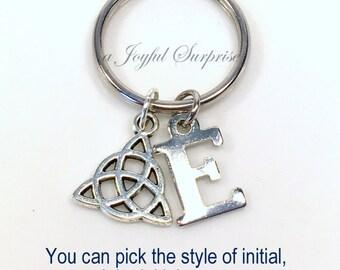 Celtic Knot Key Chain, Silver Celtic Triangle Keychain Gift, Irish Symbol Keyring Men Initial Monogram Custom Letter Man Men Boy Woman Girl