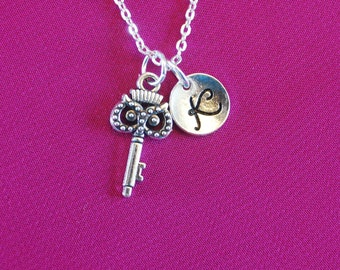Owl Necklace, Silver Owl Key Jewelry with initial, Key Gift present Little girl, charm Monogram initial letter long short chain bird her