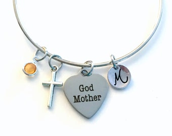 Godmother Charm Bracelet, Gift for God Mother Jewelry Bangle Silver Cross Pendant initial Birthstone Birthday Gift Christmas Present Baptism