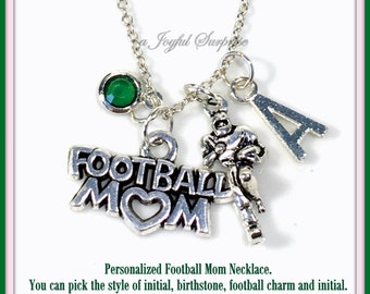 Personalized Football Mom Necklace, Silver Foot Ball, Gift for Player Pendant, Jewelry Birthstone Initial Charm Her Women parent Cheer team