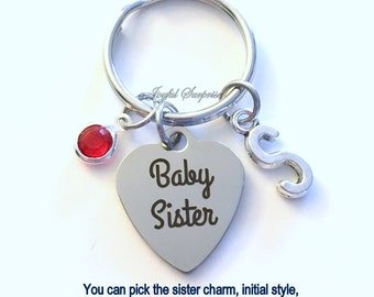 Sister KeyChain Set of 1 2 3 or 4, Baby Sister OR Big Middle Little, Gift for Birthday Key Chain Keyring Initial custom Christmas present