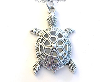 Tortoise Necklace, Turtle Jewelry, Gift for Son Nephew Sea Creature Marine animal Silver charm Birthday present filigree Long Short large