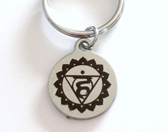 Visshuddha Throat Chakra Key chain Fifth 5th Kundalini Gift for Chinese Medicine Healer Present KeyChain keyring yoga speaking your truth