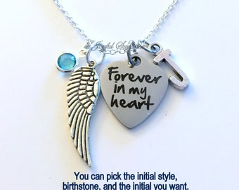 Loss of Son Daughter Sympathy Gift, Forever in my Heart Gift for Memorial Necklace Jewelry wing Charm Custom Personalized Initial Birthstone