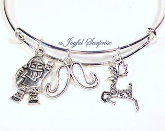 Christmas Charm Bracelet, Santa Bangle, Silver Reindeer Mustache Pendant, Holiday Jewelry, Silver plated Niece Girl teacher grandmother mom