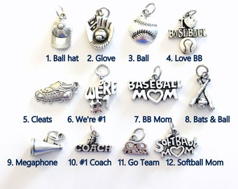 Baseball Charm, Add on to any of my listings 1 single Pendant, Silver Softball Cleat Bat Ball We're #1 Go Team Hat Cap I love Baseball coach