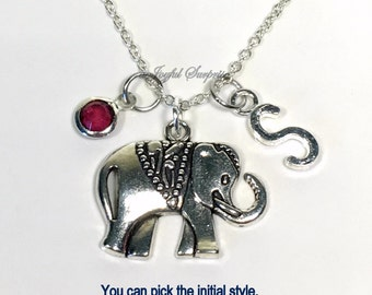 Elephant Necklace, Customized Jewelry Carved Silver Gift for Teenage Daughter Jewelry pearl charm Personalized initial birthstone her girl
