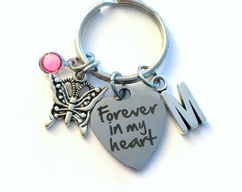 Miscarriage Loss of Infant Keychain, Sympathy Gift, Forever in my heart Key Chain Memorial Keyring, Loss of Son Initial Birthstone Daughter