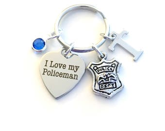 I love my Policeman KeyChain Policemen's Wife Keyring Key chain Gift for Officer Shield Mom Personalized Initial birthday present Christmas