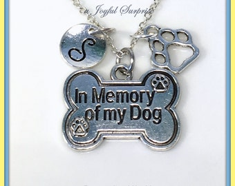 Dog Memorial Necklace, Loss of Dog Gifts, In Memory of my Dog Jewelry Charm Pendant Sympathy Pet Initial Death Grieving Custom Personalized
