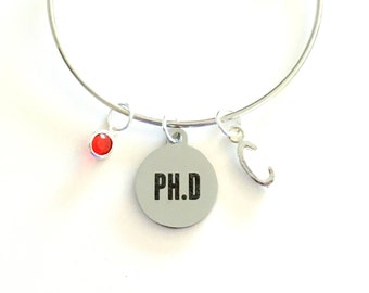 PH. D Bracelet, Gift for PHD Doctorate Degree Silver Charm Bangle, Jewelry Doctor PH D Graduation Initial birthstone personalized her women