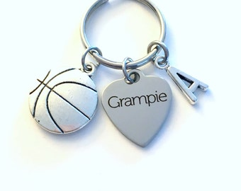Grampie Keychain, Grandfather Key Chain, Basketball Keyring, Gift for Grandpa Letter Men Man Him Birthstone Initial Present Jewelry Poppa
