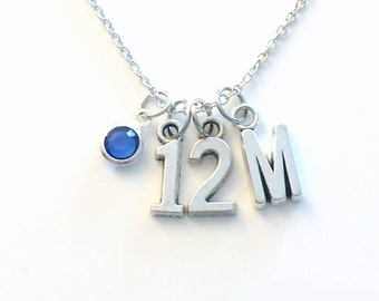 Jersey Necklace, Number Jewelry, Silver Charm Pendant, Hockey Baseball Custom Sport, 1 2 3 4 5 6 7 8 9 10 11 13 16 Gift for Teen Teenage Boy