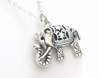Elephant Necklace, Indian Carved Jewelry, Tibetan Silver Charm Pewter Pendant Animal Birthday Gift Christmas Present Long Short Chain 136