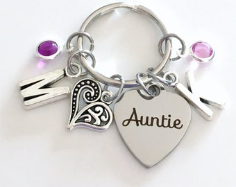 Gift for Auntie Keychain, Aunt Key Chain, From Niece and Nephew Family Keyring, Favorite Special New Birthstone Initial Personalized Jewelry