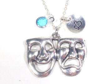 Theatre Necklace, Performing Arts Gifts Theater Pendant Charm ancient Greek Muses, Thalia and Melpomene initial & birthstone Drama Mask 225