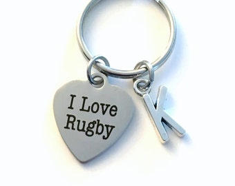 I love Rugby KeyChain, Player Key Chain, Coach Keyring, Sport Jewelry Initial birthstone present Birthday Personalized him her Boy girl ball