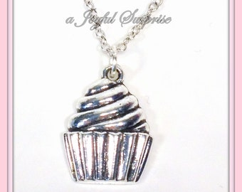 Cupcake Necklace, Gift for Baker Gifts, Silver Cup cake Jewelry, Sweet Tooth Jewelry, Birthday Present, Cupcake Gift, Little Girls Icing 213