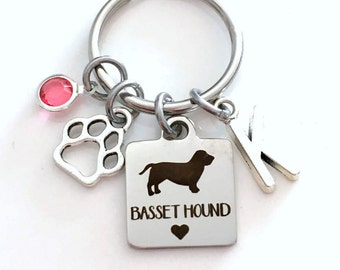 Basset Hound KeyChain Breeder Key Chain Gift for Dog Mom Keyring Doggie Puppy Jewelry charm Silver Initial Birthstone present Men women Paw