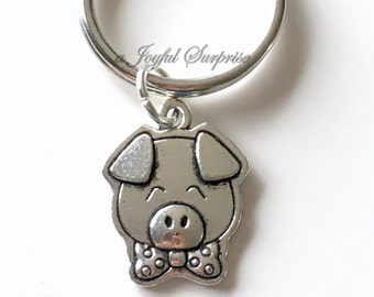 Pig Key Chain, Little Piggy Keyring Piglet Keychain Farm Animal Keychain, Mascot Gift, Cartoon Pig smiling  birthday present Year of the Pig