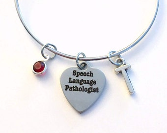 Speech Language Pathologist Bracelet, Gift for Therapist Silver Charm Bangle SLP Graduation Therapy Jewelry letter birthstone initial women