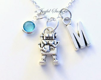 Robot Necklace, Gift for Robotics Club, Robo Alien Silver Game Jewelry charm Initial Birthstone present Sterling 925 Canadian Seller Teen