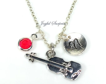 Violin Necklace, Silver Fiddle Jewelry, Pewter Pendant Charm Gift for Violinist Player Letter Personalized initial birthstone present custom