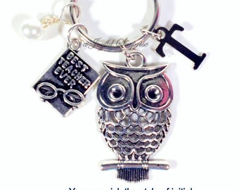 Gift for Teacher Keychain, Owl Key Chain, Best Teacher Ever Keyring, Birthday Present initial birthstone Wise Knowledge symbol School 94