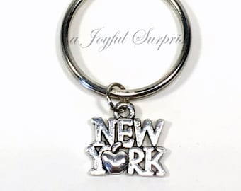 New York Key Chain,  New York Keychain, Travel Gift, The Big Apple Keyring, New Yorker, I love NY NYC, NYU Student Gift, Luggage Tag