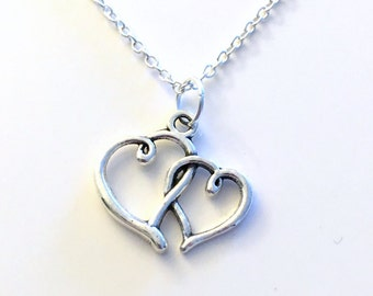 Double Intertwined Heart Necklace, Valentine's Day Present Jewelry, Silver Charm, New Mom Gift, mother baby, Mothers day Birthday girlfriend