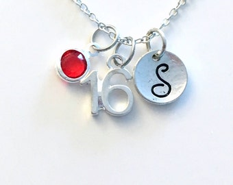 16th Birthday Necklace, Number Jewelry, Silver Charm Pendant, Sweet 16 Custom Sport, Gift for Teen Teenage Boy Girl Her Him Daughter niece