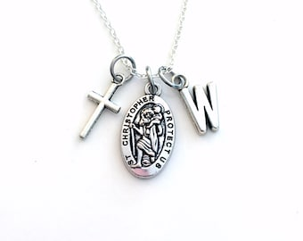 St Christopher Necklace for Men or Women, Silver Religious Cross Jewelry, New Driver Gift Safety Safe Charm Cross Pendant medallion symbol