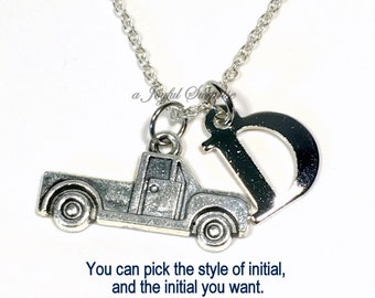 Silver Truck Necklace for Little Boy Gift for Man Jewelry Tow Truck Christmas Present Birthday Monogram Pewter Personalized initial him her