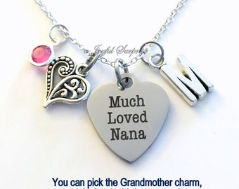 Much Loved Nana Necklace, Nana Jewelry, Grandmother Gift for Nana charm Initial Birthstone Christmas present stainless steel engraved custom