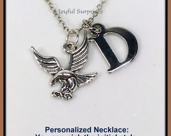 Gift for Husband Men Necklace for Man, Silver Flying Eagle Jewelry, Eagle Charm pendant, Gift for Dad Gifts, Initial Pewter American symbol