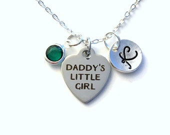 Daddy's Little Girl Necklace, Daughter Jewelry, Gift for Teenager Teen Present Birthstone initial letter her Teenage Long Short Chain silver