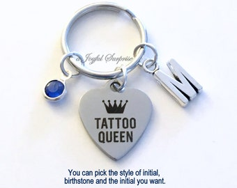 Tattoo Queen Keychain, Tattoo Artist Key Chain Keyring Gift for Girlfriend Sister Daughter Birthday Present Christmas initial birthstone