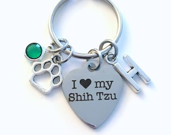 I love my Shih Tzu KeyChain Breeder Key Chain Gift for Dog Mom Keyring Doggie Puppy Shihtzu charm Silver Initial Birthstone present Women