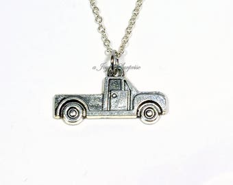 Truck Necklace for Man, Little Boy Jewelry, Silver Pickup Truck Charm, Country Girl Gift Lover's Birthday Present Christmas Teenager Men HIM