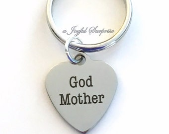 God Mother Keychain, Gift for Godmother Key Chain from God Daughter Son Baptism Keyring First Communion Confirmation birthday present little