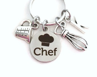 Pastry Chef Key Chain, Gift for Culinary Student, Whisk KeyChain, Measuring Cup Keyring Initial letter Silver Baking Cooking Charm Canadian