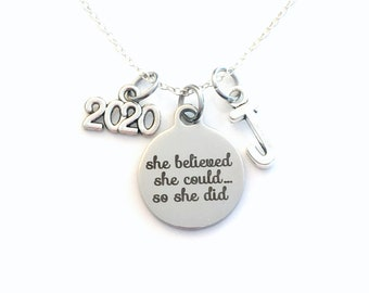 Charm Necklace, 2020 Graduation Jewelry, She Believed She could so she did Gift for Present Accomplishment silver her women woman Retirement