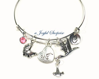 Expectant Mom Bracelet, Gift for New Grandmother, Mother's Day Gift Aunt Jewlery, Silver Bracelet Bangle Birthday Stork Stroller Initial