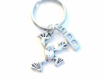 Frog KeyChain, Froggie Key Chain, Toad Keyring, Animal Jewelry Initial birthstone present Pond Nature Birthday Christmas Personalized Custom