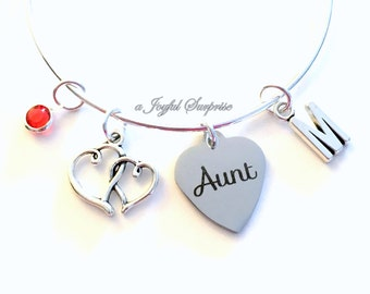 Gift for Aunt Charm Bracelet, Present from Niece Nephew Auntie Jewelry Bangle Silver Pendant initial Birthstone Birthday Christmas Women Her