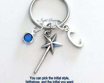 Magic Wand KeyChain Queen Keyring Princess Key chain Star Stick Jewelry charm Custom Initial Birthstone birthday present Christmas Gift 51