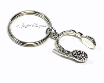 Headphones Key Chain, Gift for Teenage Boy Sound Technician KeyChain Silver Headset Keyring, BFF Present Brother Sister Hip Hop Rapper him