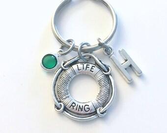 Life Preserver KeyChain, Lifeguard Key Chain, Gift for Swimming Teacher Birthstone letter Present Jewelry Keyring women her Guard him swim